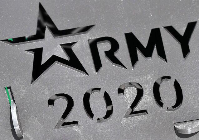 Logotipo do Fórum EXÉRCITO 2020, realizado nos subúrbios de Moscou, Rússia, 25 de agosto de 2020