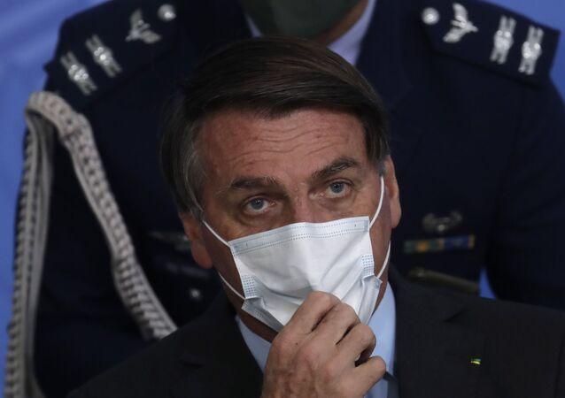 O presidente Jair Bolsonaro durante o evento Brasil vencendo a COVID-19 no Palácio do Planalto, em 24 de agosto de 2020.