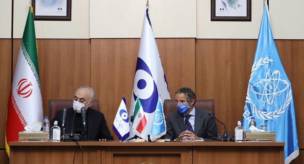 Chefe da AIEA, Rafael Grossi, ao lado do presidente da argência iraniana nuclear Ali-Akbar Salehi em Teerã