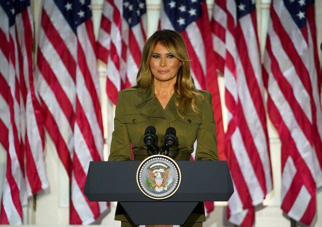 Primeira-dama dos EUA, Melania Trump discursa para a Convenção do Partido Republicano, na Casa Branca, Washington, EUA, 25 de agosto de 2020