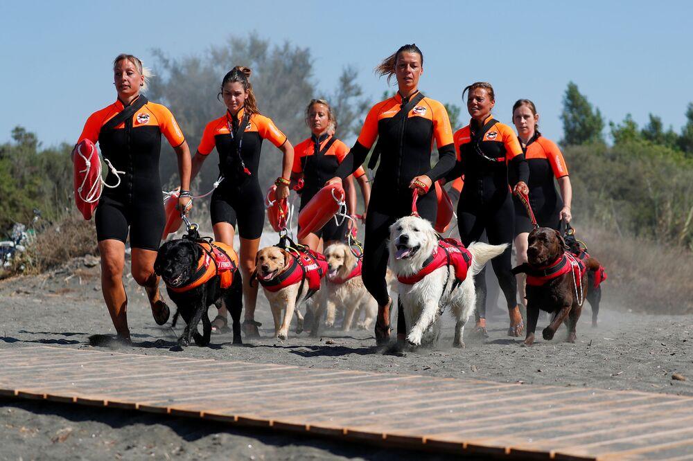 Grupo de mulheres resgatadoras italianas com seus cachorros em treinamento