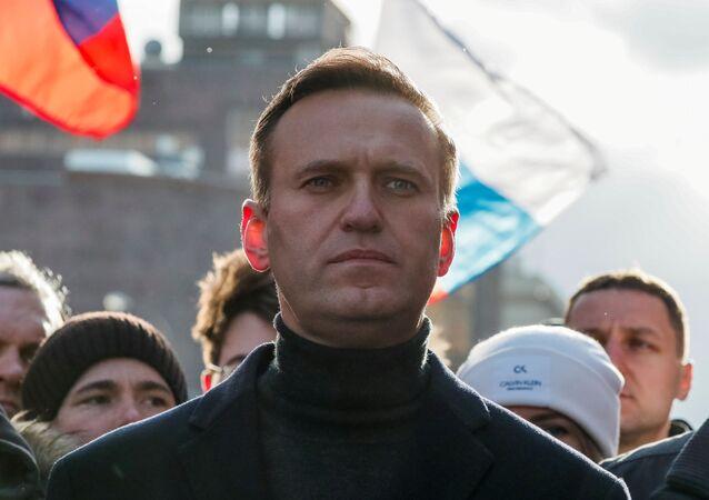 Político russo de oposição Aleksei Navalny participa de um comício para marcar o 5º aniversário da morte do oposicionista Boris Nemtsov, e para protestar contra as emendas propostas à Constituição do país, em Moscou, Rússia, 29 de fevereiro de 2020