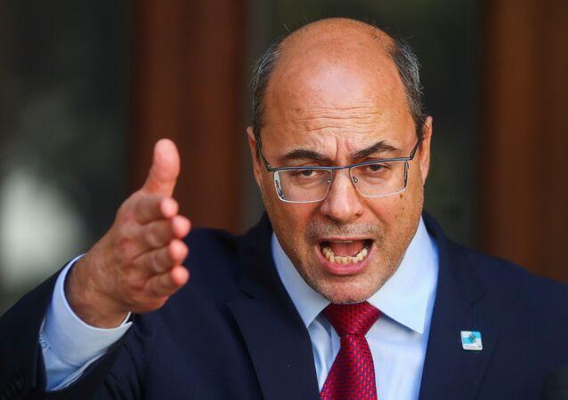 Governador do Rio de Janeiro, Wilson Witzel, durante coletiva de imprensa no Palácio das Laranjeiras, Rio de Janeiro, 28 de agosto de 2020