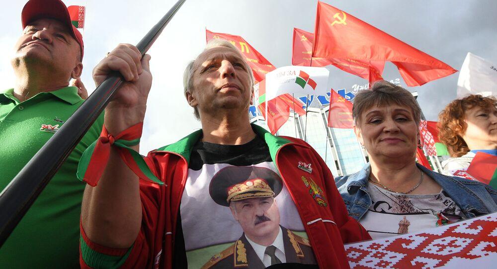 Ato em favor do presidente bielorrusso Aleksandr Lukashenko em Minsk