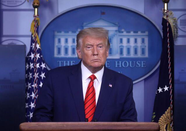 Presidente dos EUA, Donald Trump, durante briefing de imprensa na Casa Branca, Washington (EUA), 31 de agosto de 2020