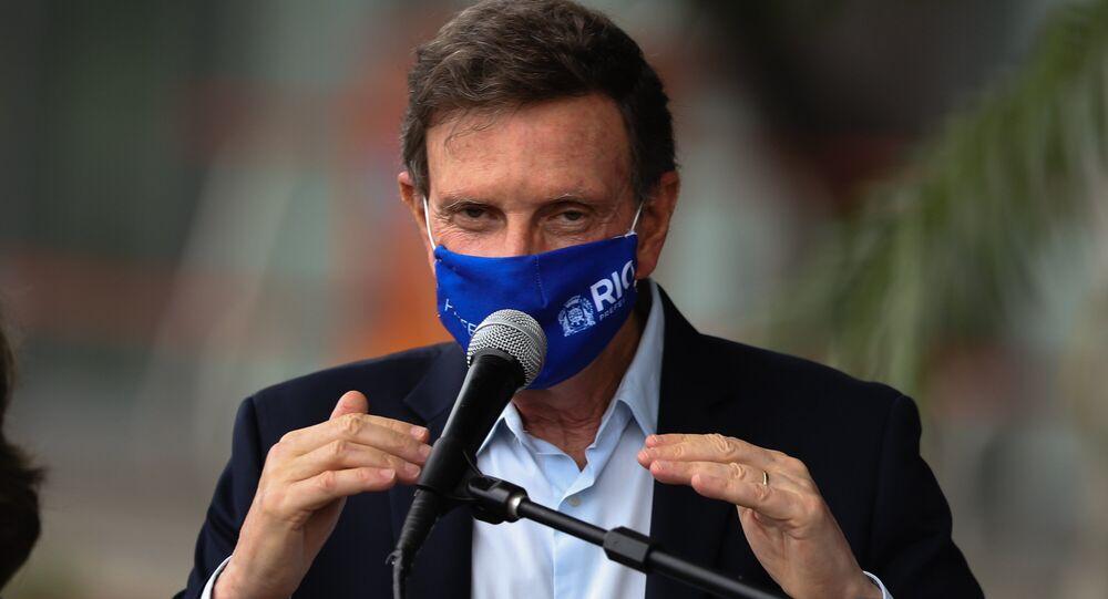 O Prefeito do Rio de Janeiro, Marcelo Crivella (Republicanos), concede coletiva de imprensa.