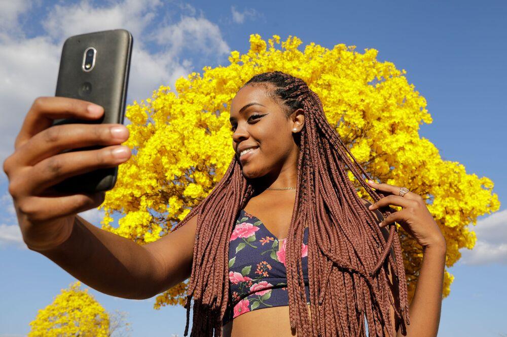 Mulher posa para selfie em frente a árvore ipê-amarelo em Brasília