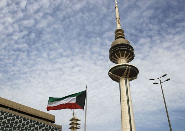 Bandeira do Kuwait na capital do país