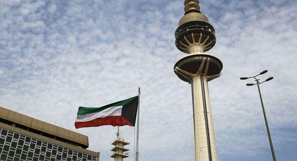 Bandeira do Kuwait na capital do país