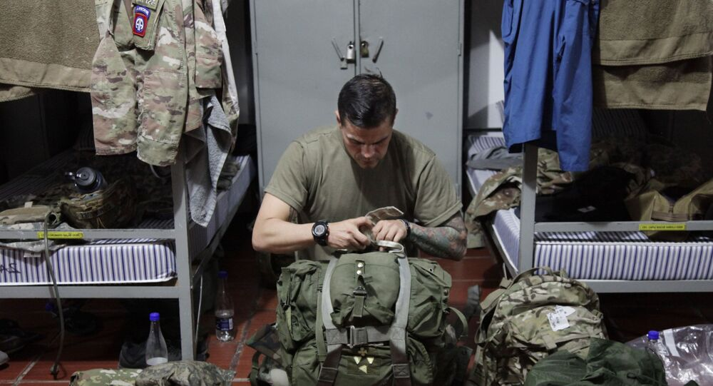 Militar do Exército dos EUA na Base Aérea de Tolemaida, Colômbia, janeiro de 2020