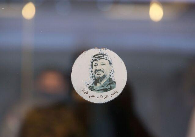 Imagem de Yasser Arafat em sala de reunião que recebeu grupos rivais palestinos para coordenação, em Beirute, Líbano, 3 de setembro de 2020