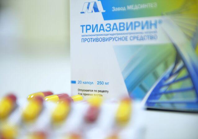 Imagem do Triazavirin, medicamento russo contra COVID-19.