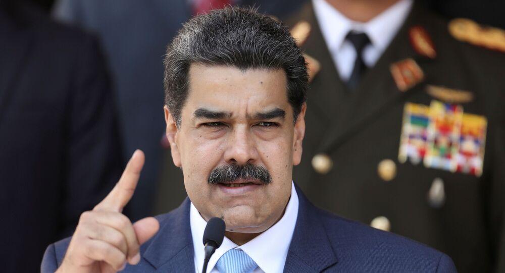 Presidente da Venezuela, Nicolás Maduro, fala durante coletiva de imprensa no Palácio Miraflores em Caracas, Venezuela, 12 de março de 2020