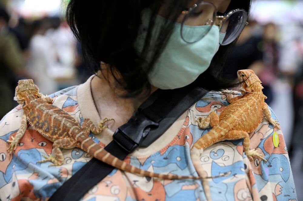 Mulher carrega dois lagartos em exposição de animais na Tailândia