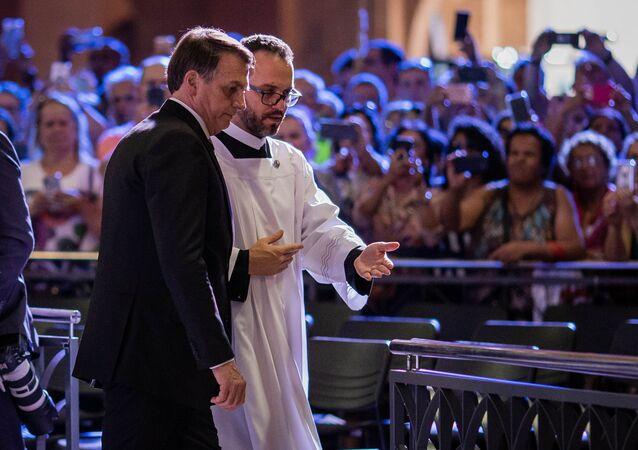 Presidente Jair Bolsonaro participa de missa no Santuário Nacional de Nossa Senhora Aparecida, São Paulo, Brasil, 12 de agosto de 2019