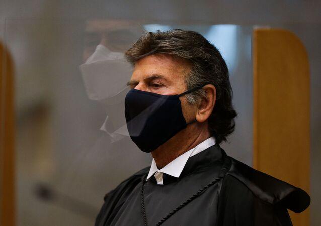 Em Brasília, o novo presidente do Supremo Tribunal Federal (STF), o ministro Luiz Fux, durante sessão em 11 de setembro de 2020.
