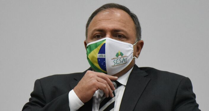 Ministro interino da Saúde, Eduardo Pazuello em lançamento das Ações em Saúde em Defesa da Vida na Universidade Unichristus, Fortaleza, Brasil, 11 de setembro de 2020