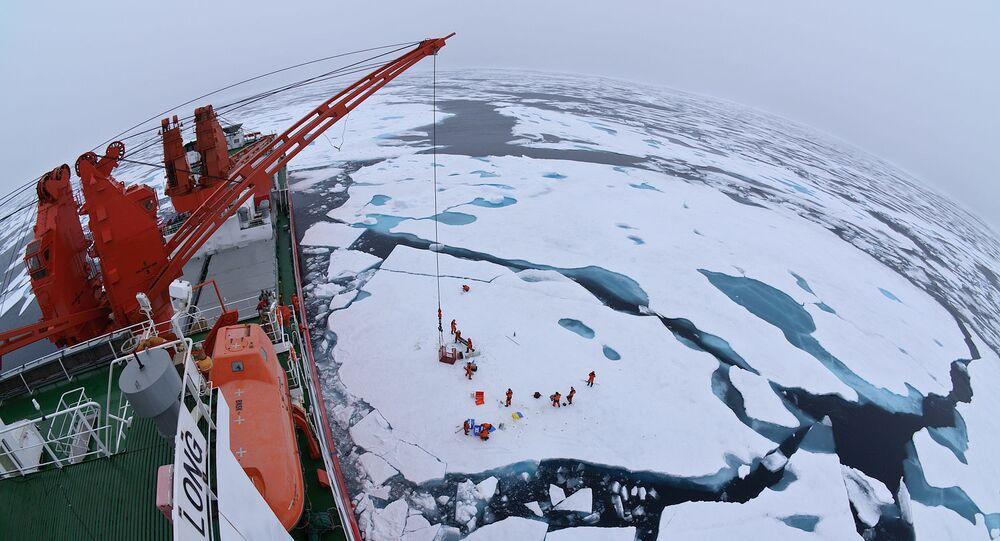 Calotas polares do Ártico vistas a partir do quebra-gelo chinês Xue Long