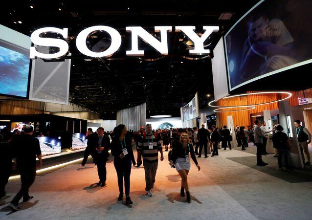 Estande da Sony durante a 2020 CES em Las Vegas, Nevada, EUA, 2020