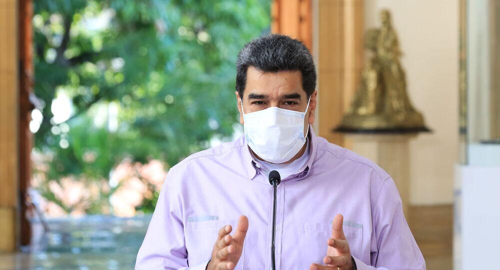 Presidente da Venezuela, Nicolás Maduro durante anúncio transmitido em rede nacional, Caracas, 13 de setembro de 2020