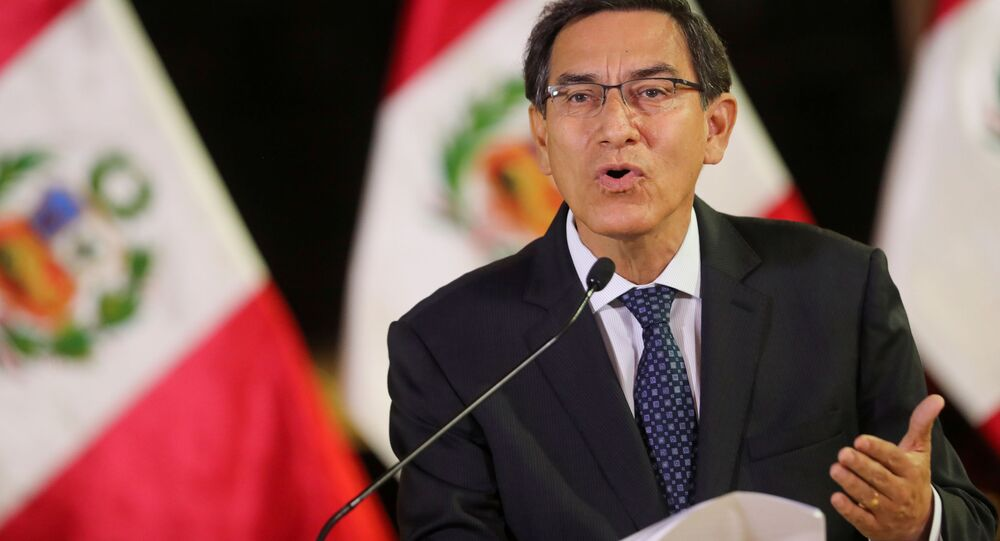 Martín Vizcarra, presidente do Peru, em pronunciamento.