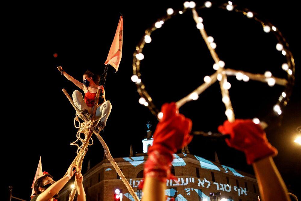 Protestos contra o primeiro-ministro de Israel, Benjamin Netanyahu