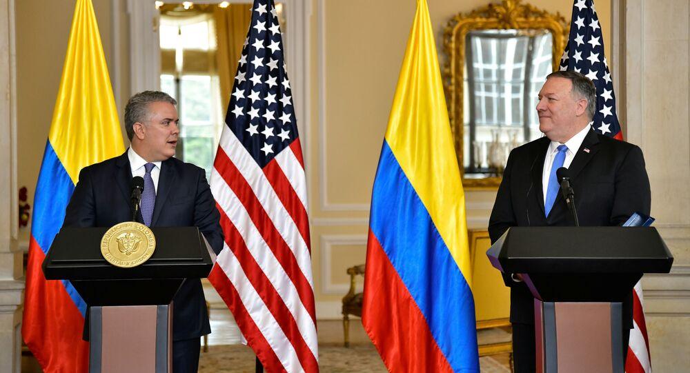 Presidente da Colômbia, Iván Duque, recebe o secretário de Estado dos EUA, Mike Pompeo