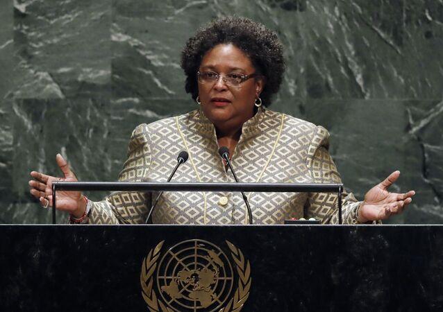 A primeira-ministra de Barbados, Mia Amor Mottlley, durante discurso na 74ª sessão da Assembleia Geral da Organização das Nações Unidas (ONU), em 27 de setembro de 2019.