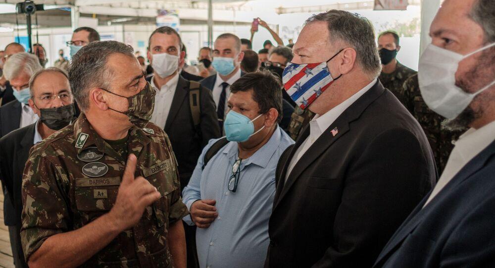 O secretário de Estado dos EUA, Mike Pompeo, em Boa Vista, Roraima.