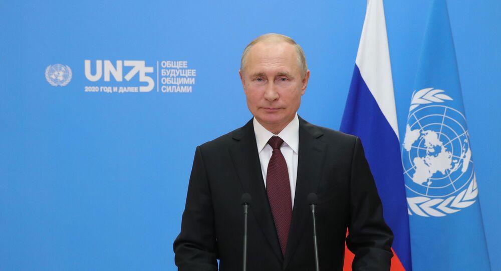 De Moscou, o presidente da Rússia, Vladimir Putin, fala em vídeo durante a 75ª sessão da Assembleia Geral da Organização das Nações Unidas (ONU), em meio à pandemia da COVID-19, em 22 de setembro de 2020.
