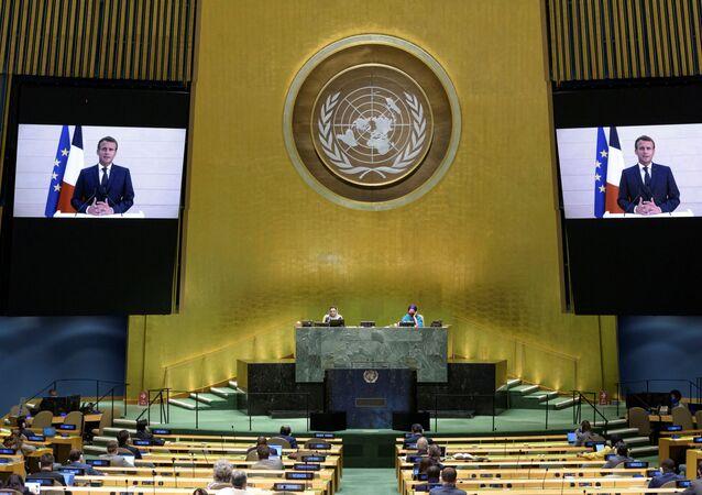 Na sede da Organização das Nações Unidas (ONU) em Nova York, o presidente francês Emmanuel Macron discurso por vídeo na 75ª sessão da Assembleia Geral da ONU, em 22 de setembro de 2020.