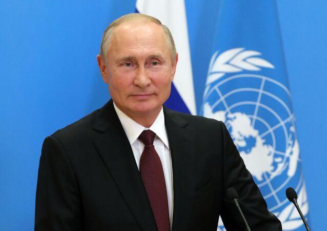 Presidente da Rússia, Vladimir Putin durante discurso gravado para a Assembleia Geral da ONU, 22 de setembro de 2020