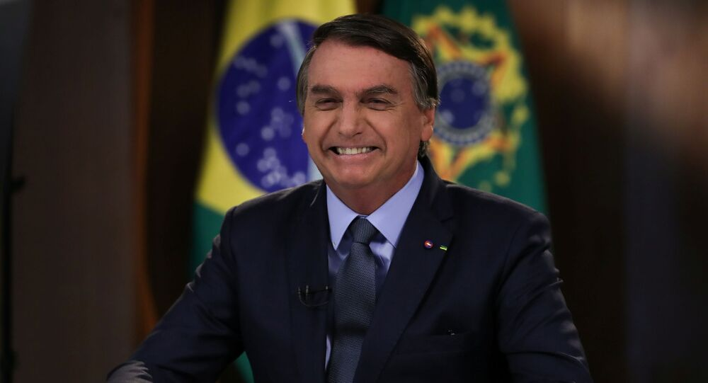 Presidente do Brasil, Jair Bolsonaro, durante gravação do discurso de abertura da 75ª Assembleia Geral da ONU, Brasília, 16 de setembro de 2020