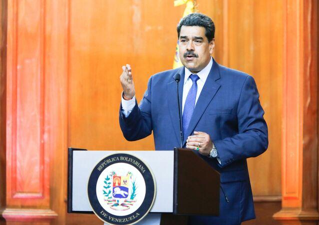 Presidente venezuelano Nicolás Maduro fala em Caracas, capital do país