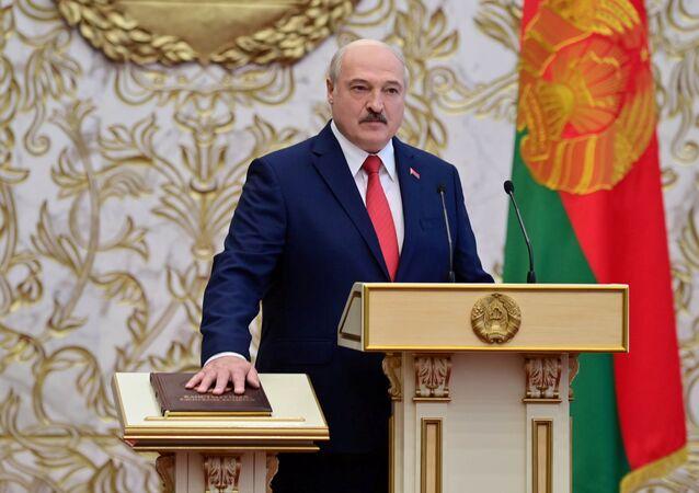 Aleksandr Lukashenko durante cerimônia de posse como presidente da Bielorrússia, Minsk, 23 de setembro de 2020
