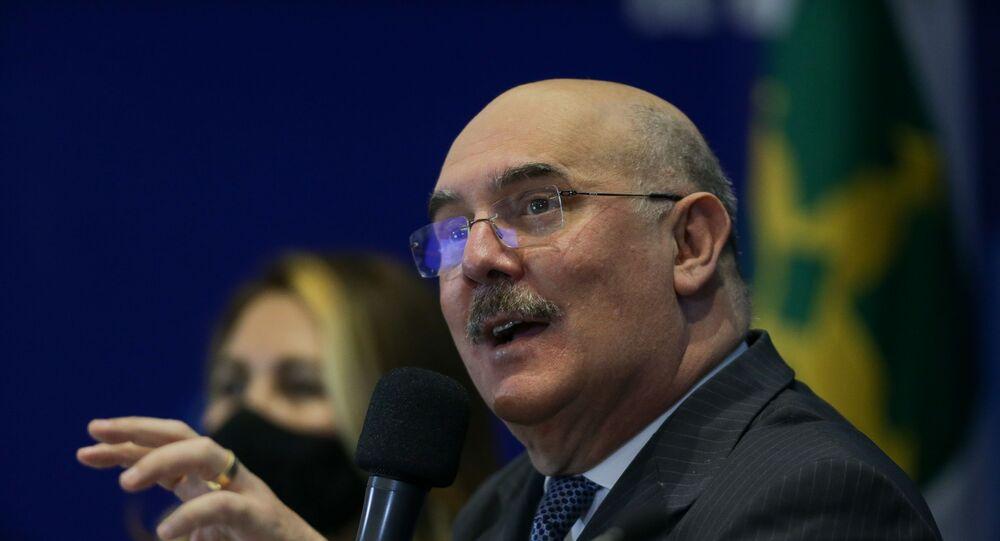 Ministro da Educação, Milton Ribeiro, concede entrevista coletiva para apresentar os resultados do Ideb, na sede do Inep em Brasília