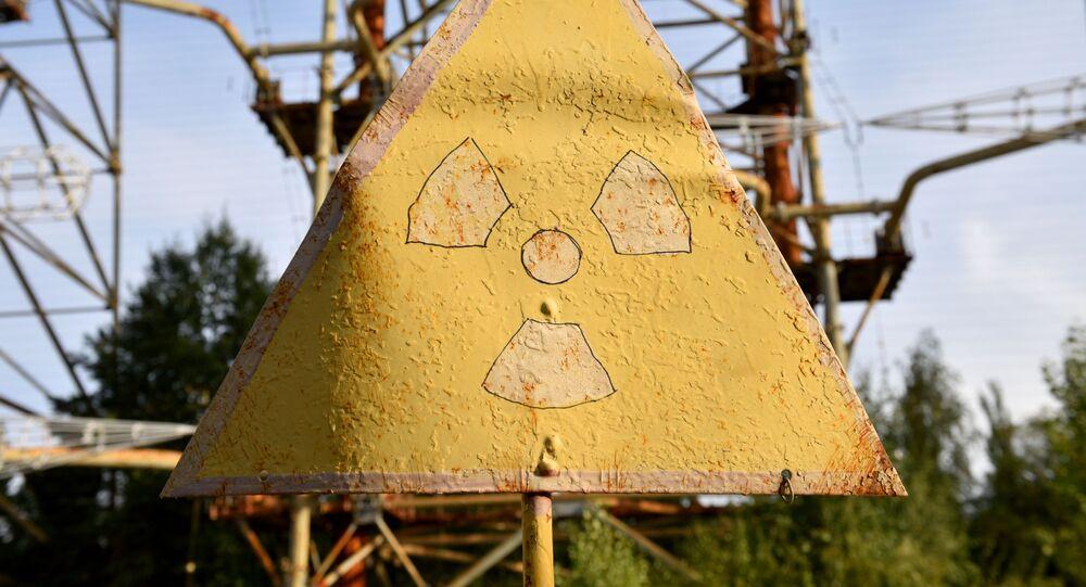 Símbolo de perigo radioativo na zona de exclusão de Chernobyl