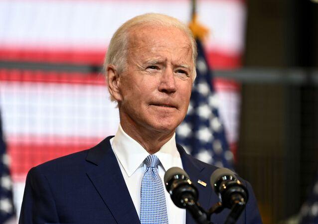 Candidato à presidência norte-americana pelo Partido Democrata, Joe Biden discursa em comício em Pittsburgh, Pensilvânia, EUA, 31 de agosto de 2020