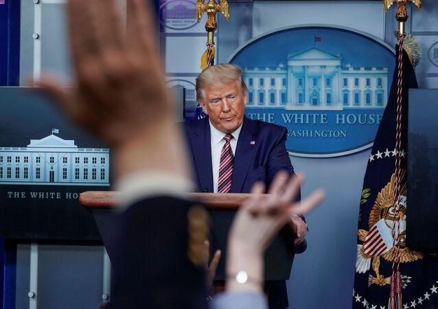 Presidente norte-americano, Donald Trump durante briefing à imprensa na Casa Branca, Washington, EUA, 27 de setembro de 2020