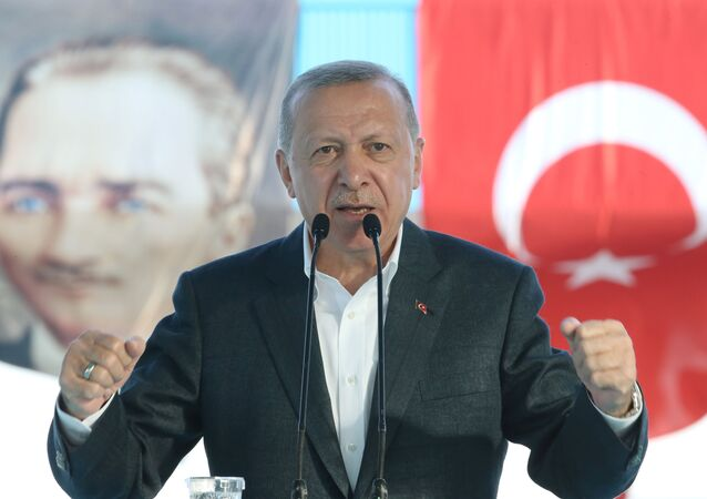 Presidente turco, Recep Tayyip Erdogan, durante cerimônia em Ancara, 4 de setembro de 2020