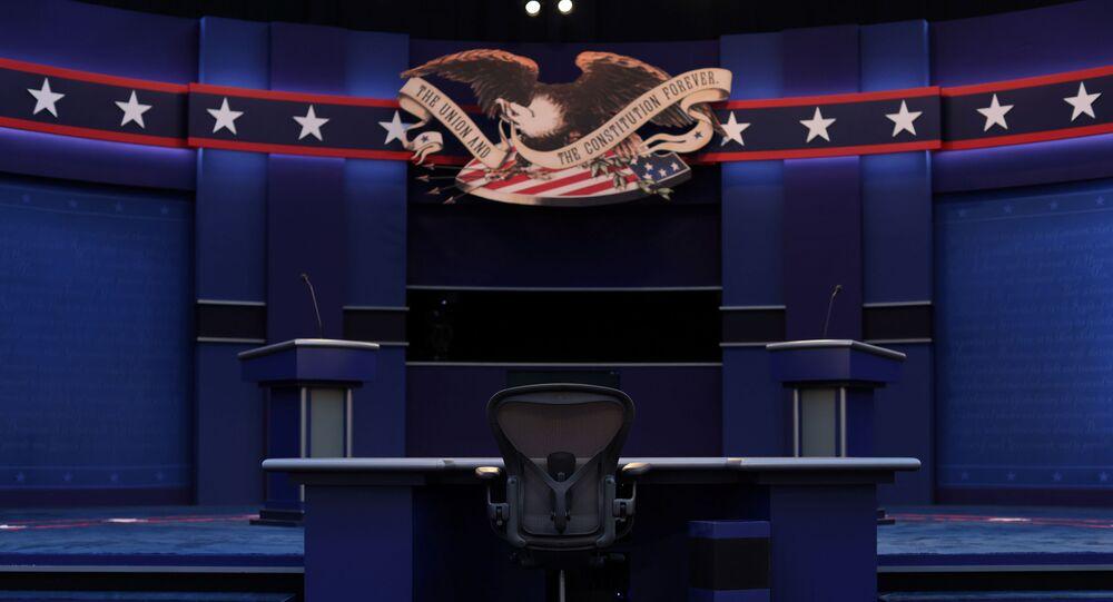 Cenário do debate entre os candidatos à presidência dos EUA, em Cleveland, Ohio, 28 de setembro de 2020