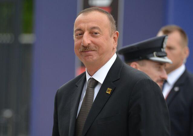 O presidente do Azerbaijão, Ilham Aliev, durante um econtro da ORAN em Varsóvia (arquivo).
