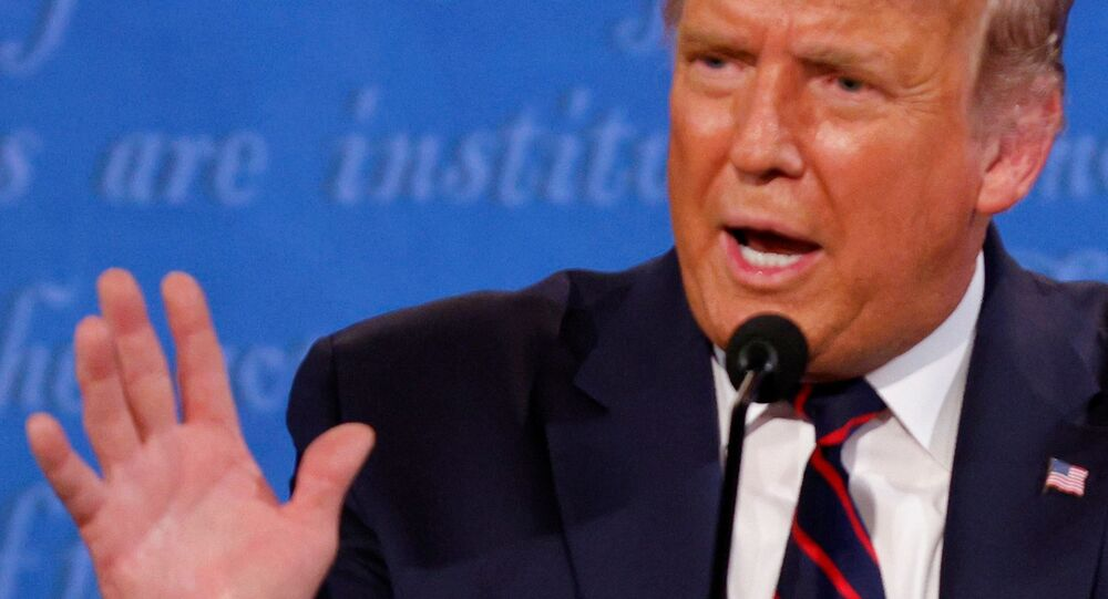 Presidente norte-americano, Donald Trump durante debate presidencial em Cleveland, EUA, 29 de setembro de 2020