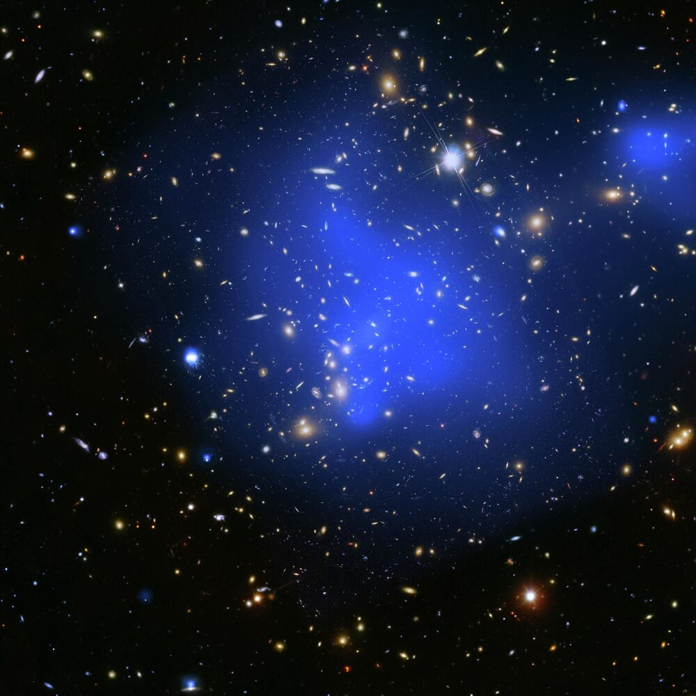 Fotografia do aglomerado de galáxias Abell 2744