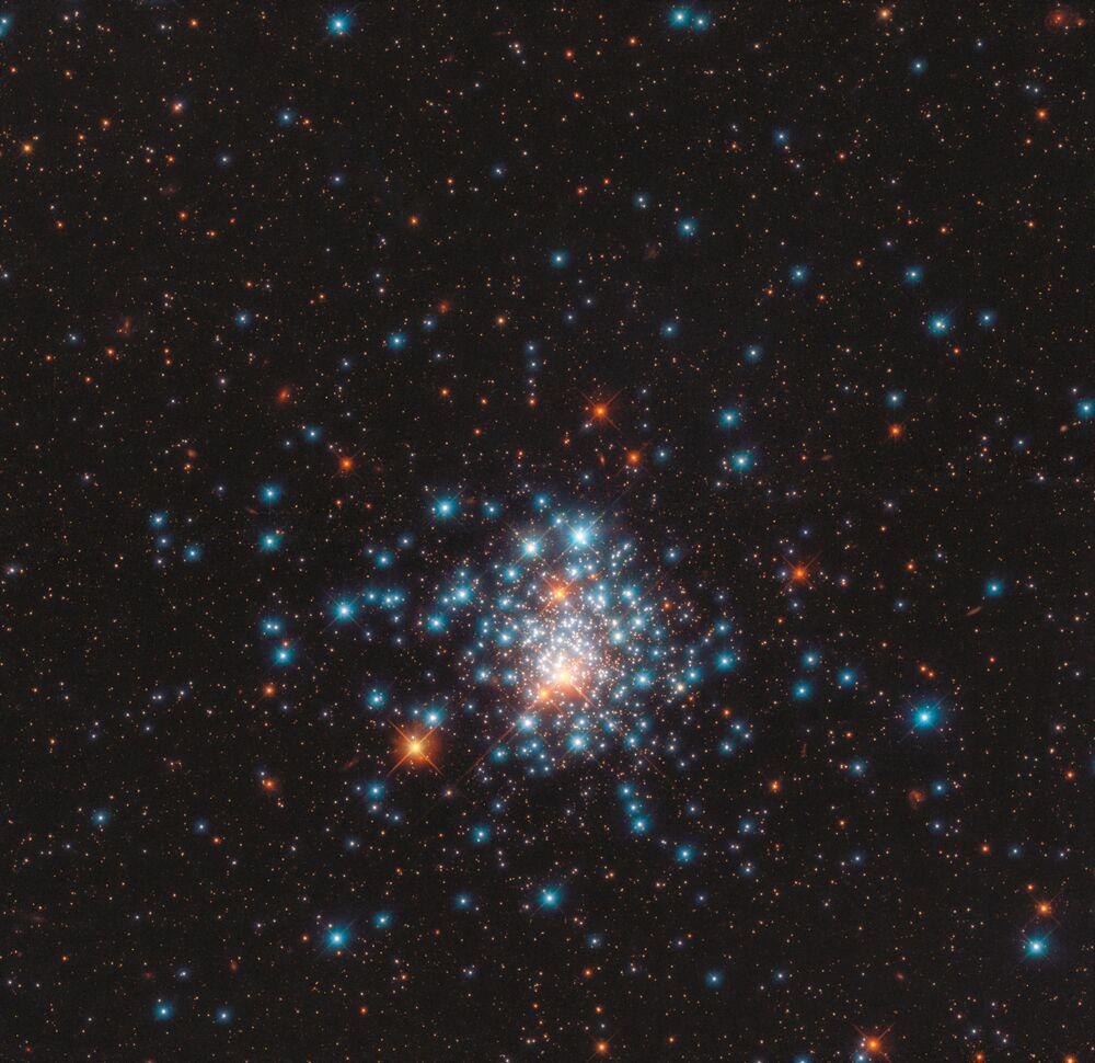 Imagem de diversas estrelas presentes no aglomerado globular NGC 1805, na constelação Doradus