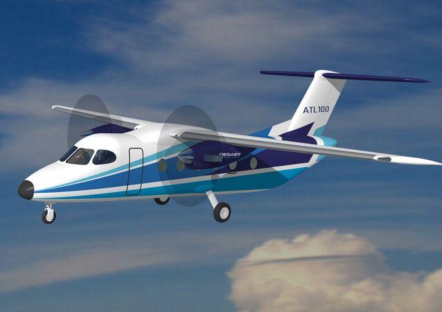 Avião de transporte leve ATL-100, um projeto desenvolvido entre a empresa portuguesa CEiiA e a brasileira DESAER