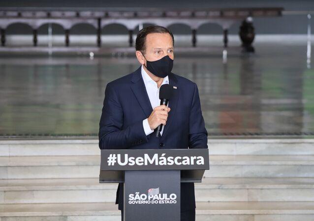 João Doria, Governador de São Paulo, apresenta informações sobre o combate ao coronavírus (COVID-19) em São Paulo, no Palácio dos Bandeirantes.