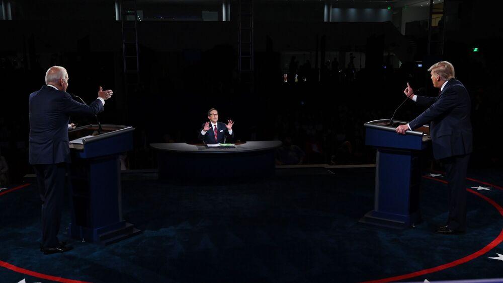Candidatos à presidência dos EUA, Donald Trump e Joe Biden, participam de debate televisionado