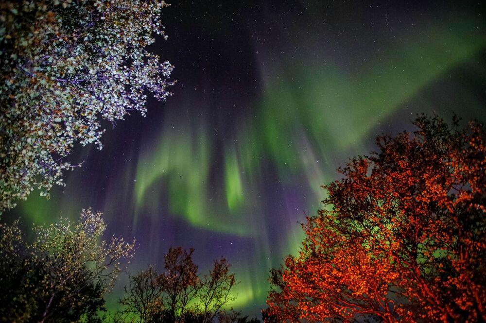 Registro da aurora boreal próximo ao rio Ura, na região russa de Murmansk