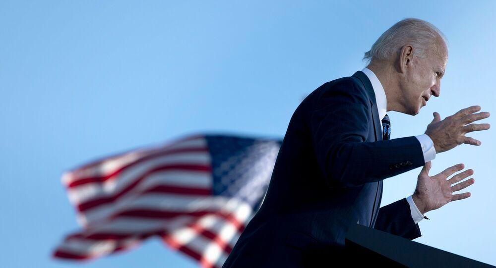 Candidato à presidência dos EUA pelo Partido Democrata, Joe Biden, em comício na cidade de Gettysburg, 6 e outubro de 2020